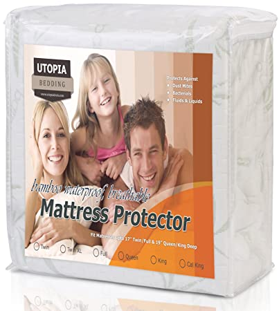 Waterproof Bamboo Mattress Protector - Hypoallergenic fitted Mattress Cover - Breathable Cool Flow Technology - Vinyl Free (Twin XL) - by Utopia Bedding