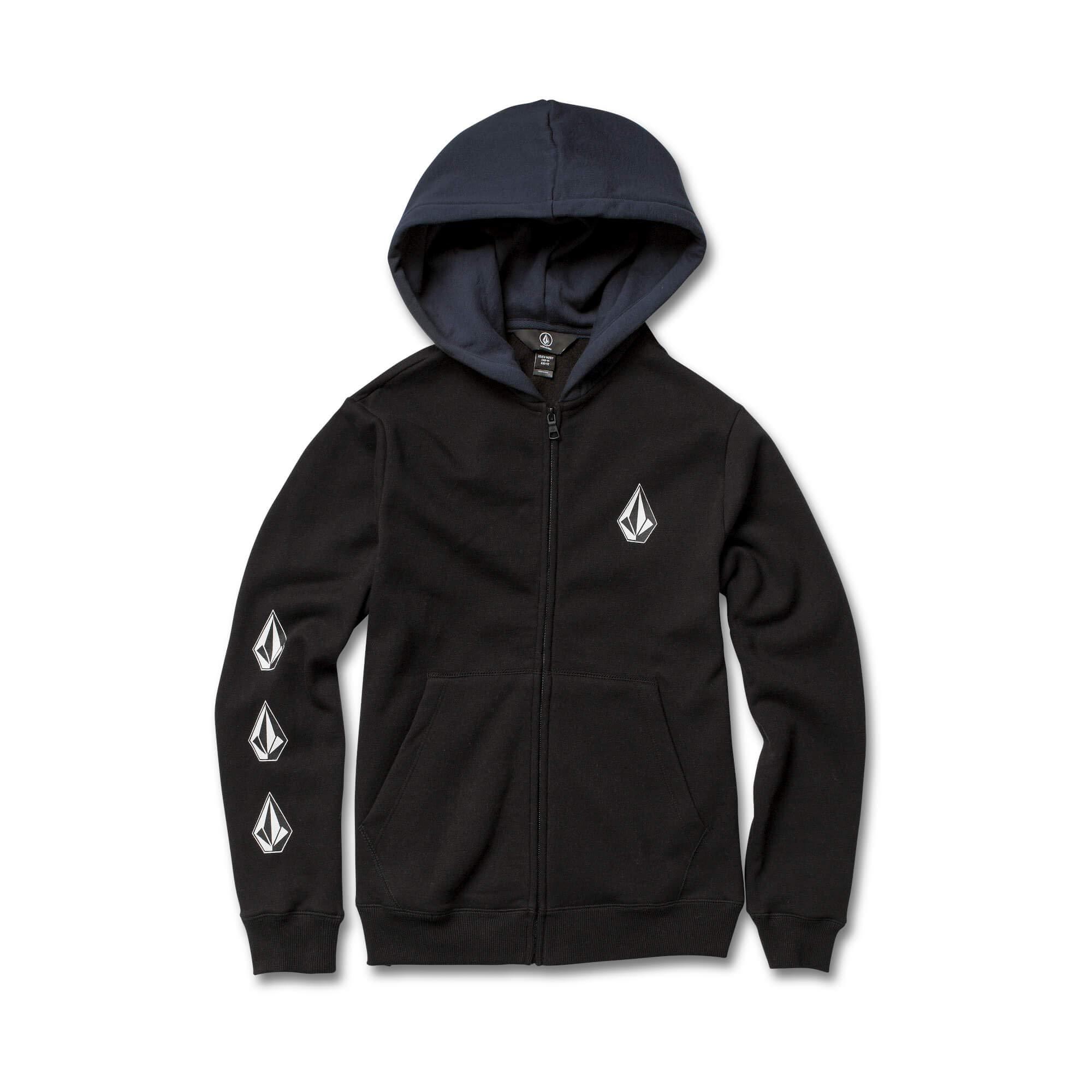 Volcom Boys' Big Deadly Stone Zip Up Fleece Hooded Sweatshirt, Black Combo, Small