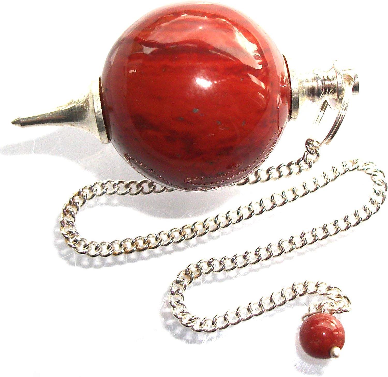 Péndulo esférico para radiestesia y sanación en Cristales de Piedra Semipreciosa Genuina (Jaspe Rojo)