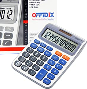 OFFIDIX Desk Calculators Office Desktop Calculator,Solar and Battery Dual Power Electronic Calculator Portable 12 Digit Large LCD Display Calculator Handheld Calculator (Dark Blue)