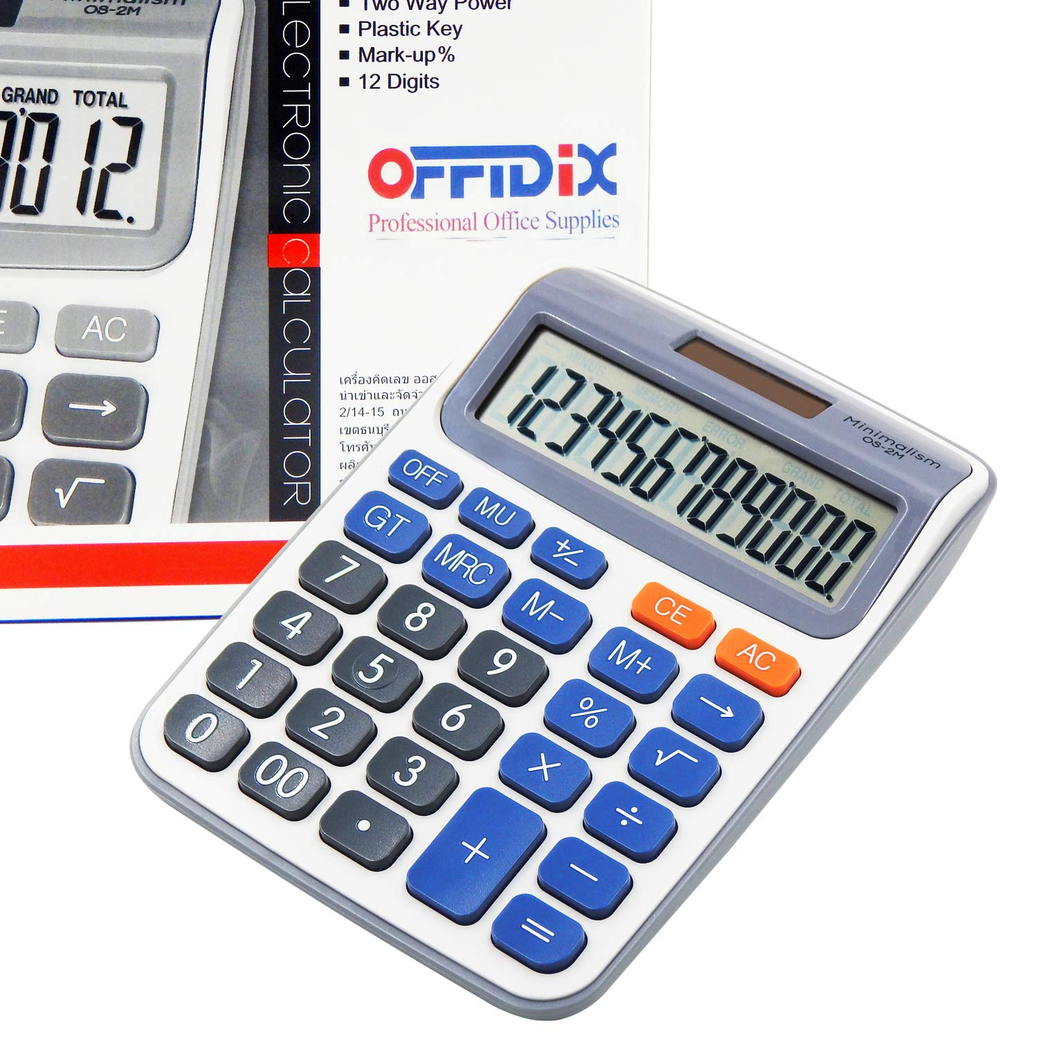 OFFIDIX Desk Calculators Office Desktop Calculator,Solar and Battery Dual Power Electronic Calculator Portable 12 Digit Large LCD Display Calculator Handheld Calculator (Dark Blue) by OFFIDIX
