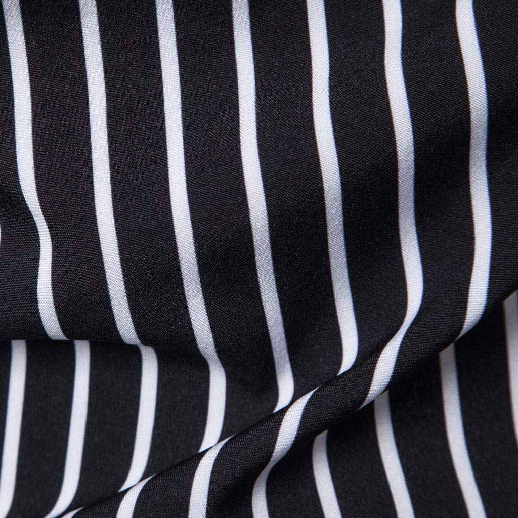 Shirt Elastic Hem Simple Tunic Mens Fashion Stripe Shirt Cotton Slim Fit Collar T