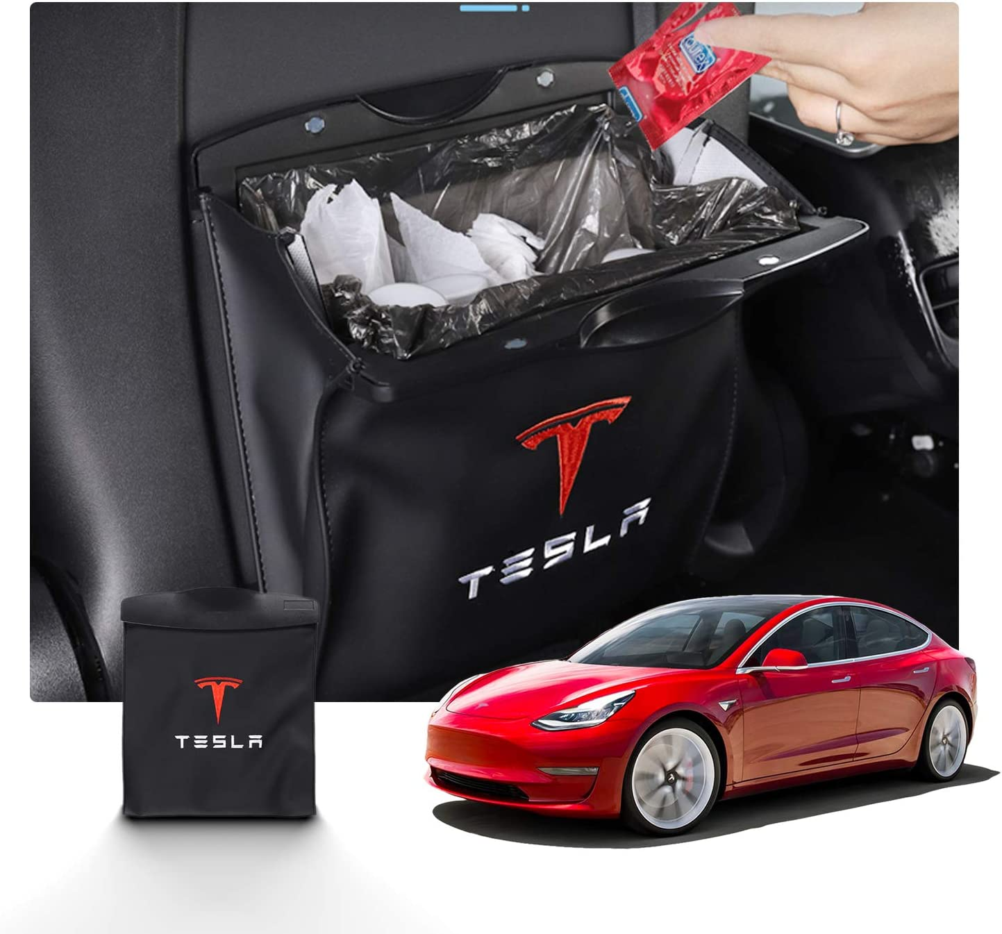 R RUIYA Car Trash Bag with Superior Leather for Tesla Model 3 Hanging and Magnet Closure Garbage Can and Storage Bin Pockets