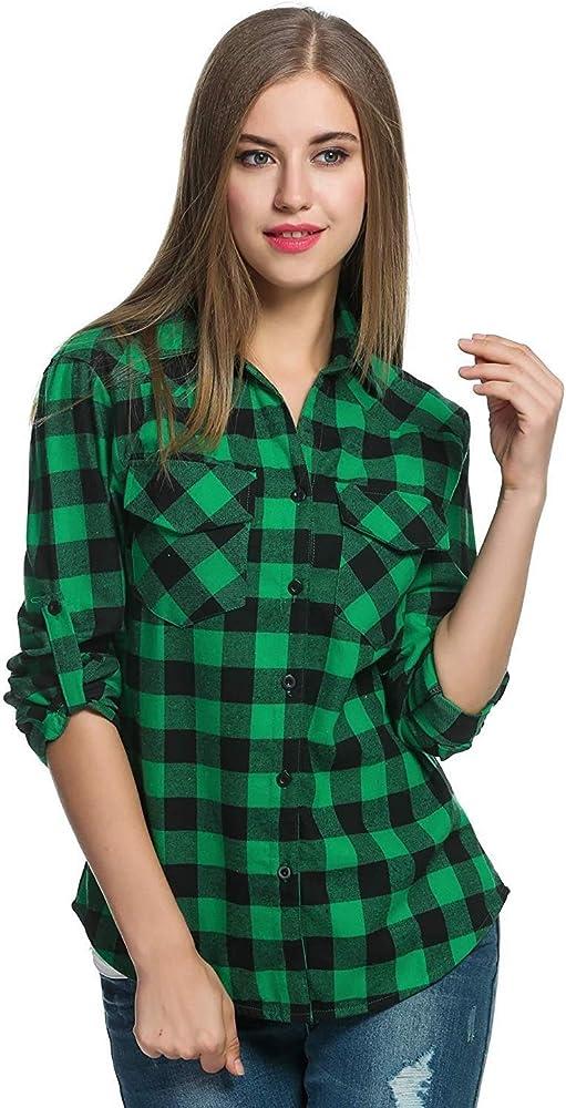 Camisas De Manga Larga A Cuadros De Damas Camisa Blusas De De Basicas Manga Larga Camisas De Estilo Vintage Elegantes con Estilo Tops Tops De Mujer (Color : Grün, Size : S):
