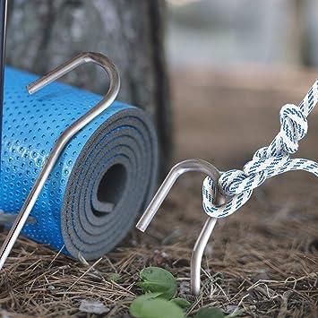 Viajar Caminar Patines de Camping Playa y al Aire Libre Paquete de 20 Ideales para Acampar ANSIO Clavijas de Tienda Clavijas de Metal galvanizado de 3 mm x 6 Pulgadas