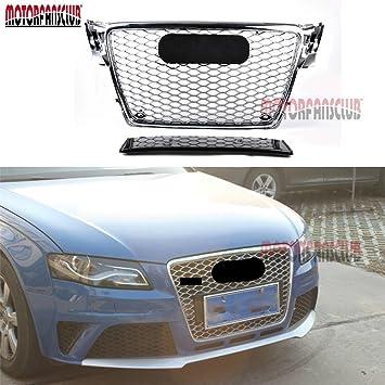 Rejilla frontal de malla cromada para Audi, A4, B8, RS4, estilo 2009 - 2012: Amazon.es: Coche y moto