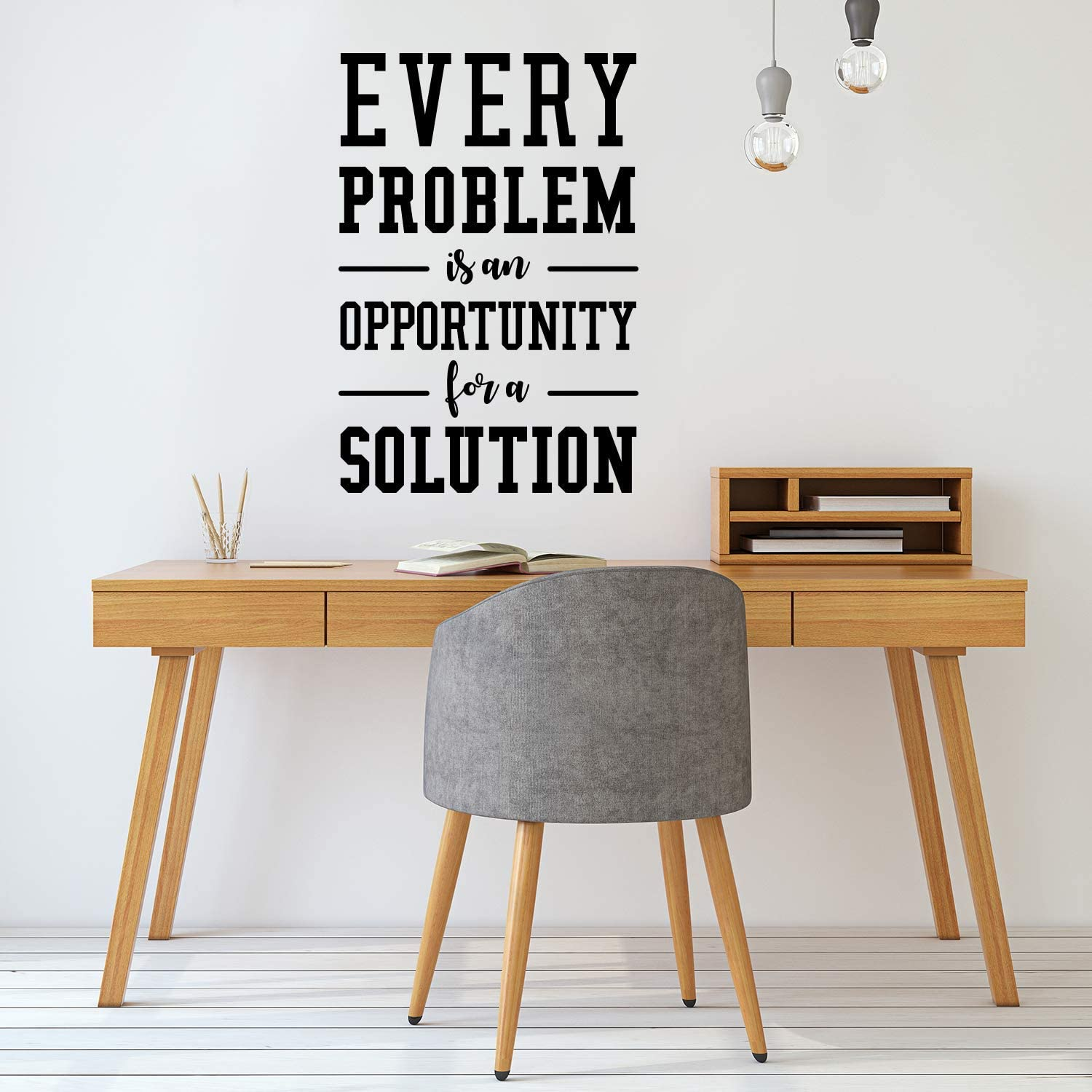 "Vinyl Wall Art Decal - Every Problem is an Opportunity for A Solution - 44"" x 30"" - Motivational Quote for Home Bedroom Living Room Office Workplace Classroom School Decor Sticker (44"" x 30"", Black)"