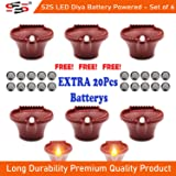 S2S® LED Diyas Battery Powered Golden Yellow LED Light Free with Extra 20pcs Button Batteries Pack of 6