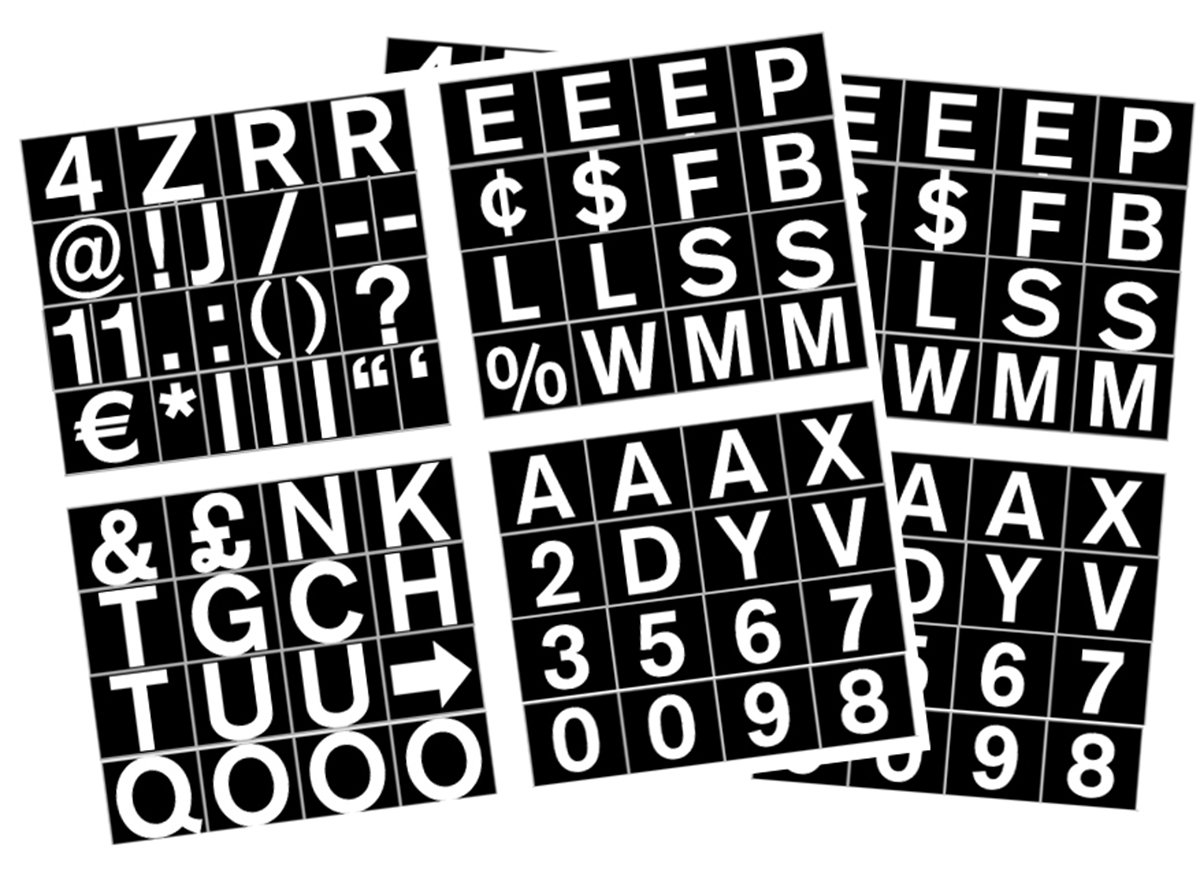MasterVision Set of Letters, Numbers and Symbols, Magnetic, 1'', Over 70 Pieces, Black/White