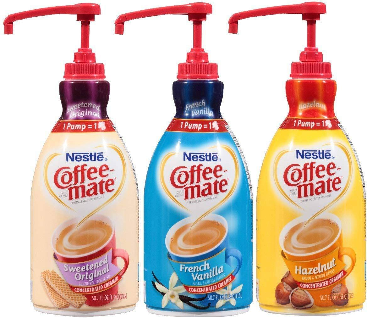 Coffee Mate Liquid Concentrate 1.5 Liter Pump Bottle - Variety 3 Pack (Original Sweetened Cream, French Vanilla & Hazelnut) by Nestle Coffee Mate