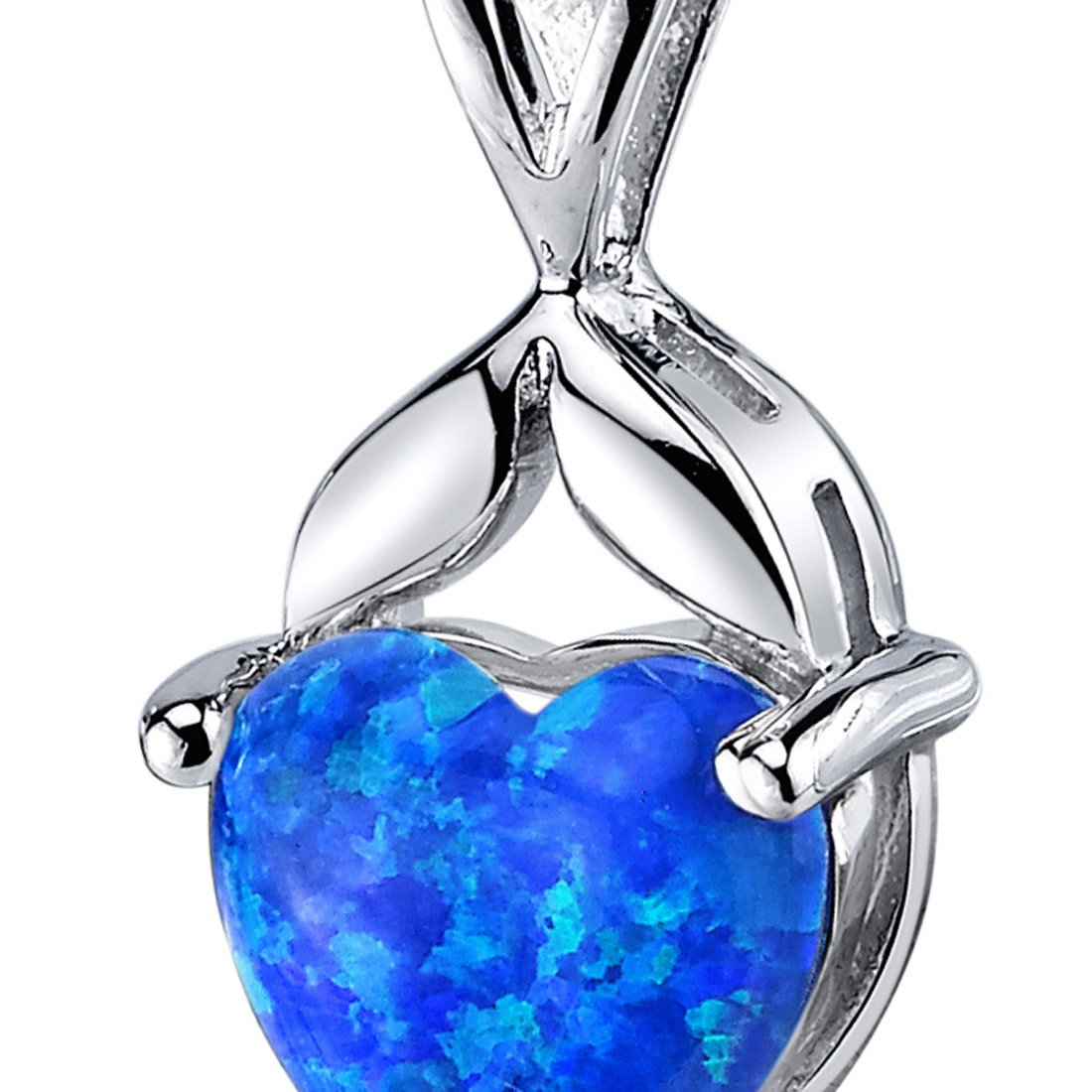 Created Blue-Green Opal Pendant Necklace Sterling Silver Heart Shape 2.50 Carats