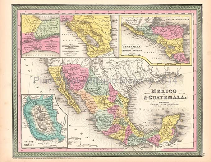 Mexico Guatemala Antique Map Desilver 1854 Authentic Mexican Decor