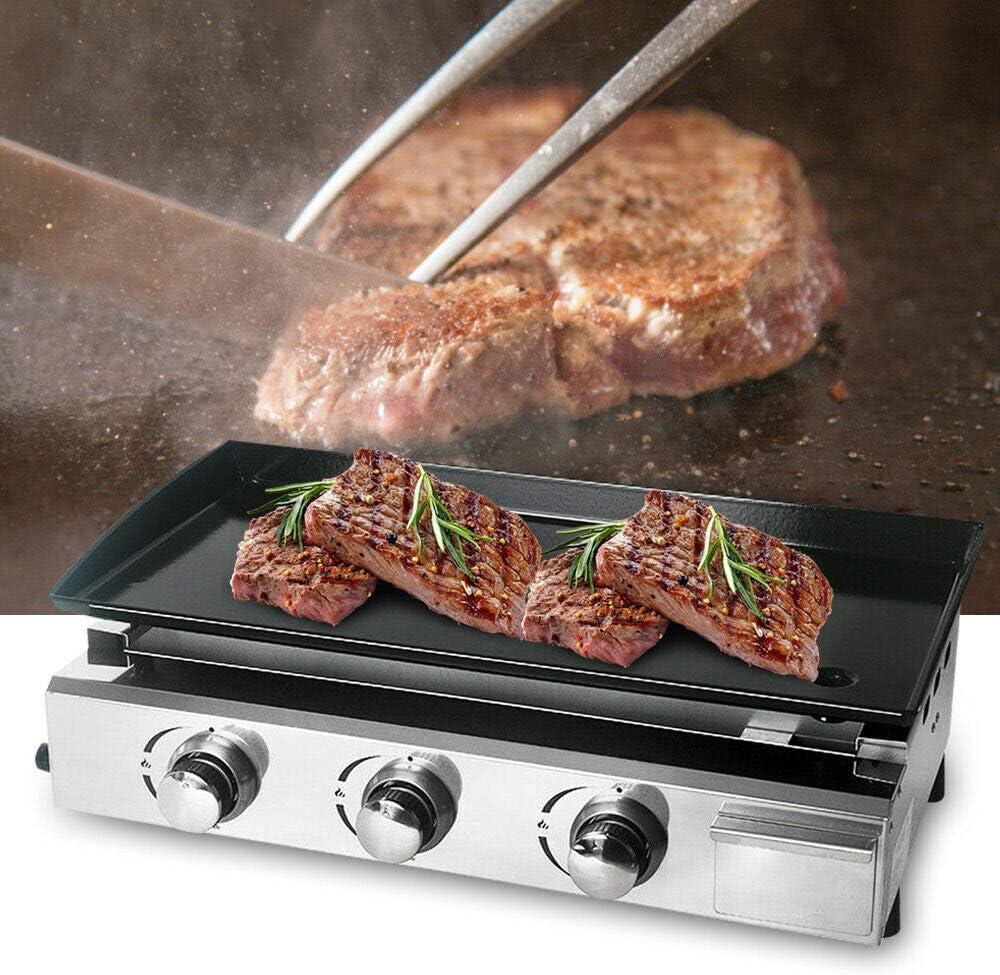 BBQ 3 Brenner Barbecue Grill 7500 W Outdoor Garden Gas Gasgrill Tischgrill Grillplatte Edelstahl Maschinenk/öRpermaterial