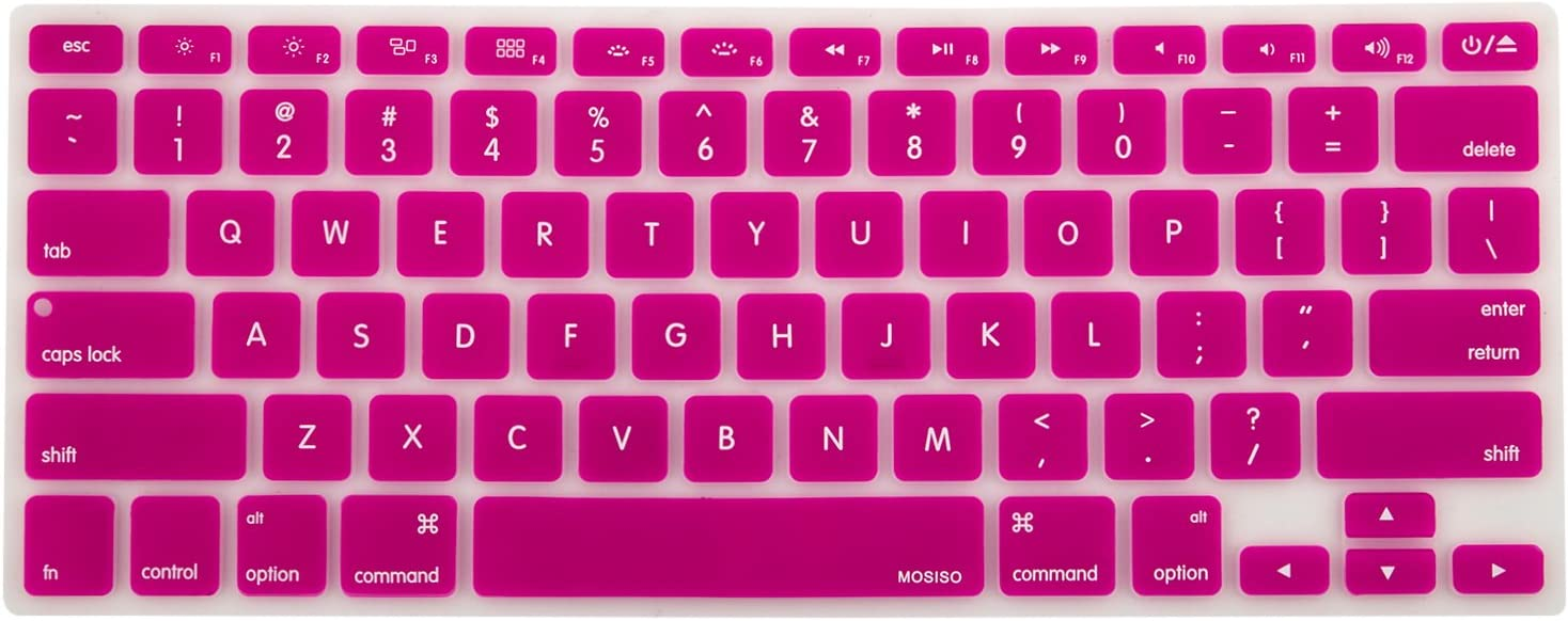MOSISO Silicone Keyboard Cover Compatible with MacBook Pro 13/15 Inch (with/Without Retina Display, 2015 or Older Version),Older MacBook Air 13 Inch (A1466 / A1369, Release 2010-2017), Rose Red