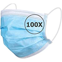 TBOC Mascarilla Higiénica Desechable - [Pack 100 Unidades] Máscara 3 Capas [Azul] Ligera Suave y Transpirable [No…