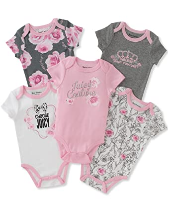 fee5253d5b07 Amazon.com  Juicy Couture Baby Girls 5 Pack Bodysuits  Clothing