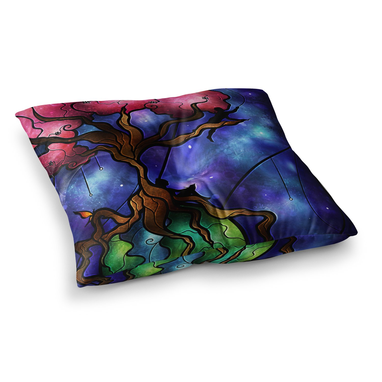 23 x 23 Square Floor Pillow Kess InHouse Maria Bazarova Strange Girl Abstract People