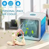 GESUNDHOME Arctic Air - Personal Space Air Cooler - 3-in-1 Portable Mini Air Cooler, Humidifier & Purifier with 7 Colors LED Lights (White) (Air Cooler-New)