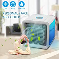 GESUNDHOME Personal Space Air Cooler - 3-in-1 Portable Mini Air Cooler, Humidifier & Purifier with 7 Colors LED Lights