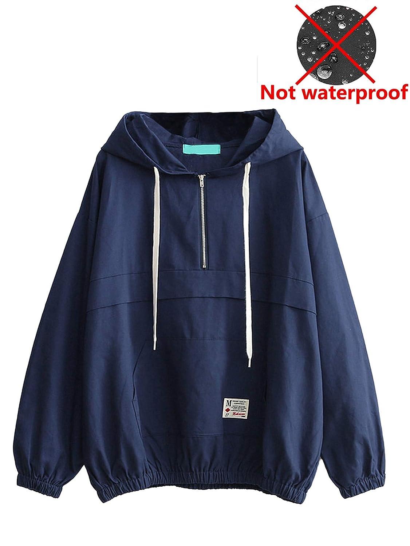 Romwe Womens Lightweight Kangaroo Pocket Anorak Sports Jacket Drawstring Hooded Zip up Windproof Windbreaker Navy M