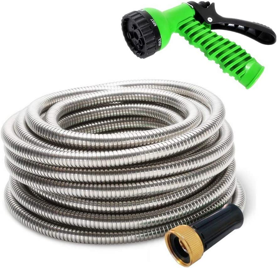 """MTB 304 Stainless Steel Garden Hose 75-ft with Spray Nozzle and 3/4"""" Solid Aluminum Connectors, Metal Water Hose…"""