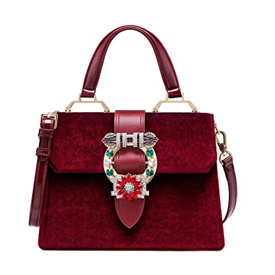 ff877ed6b623 LA FESTIN Vintage Burgundy Bags for Women Velvet Leather Shoulder Purses  with Jewels Red