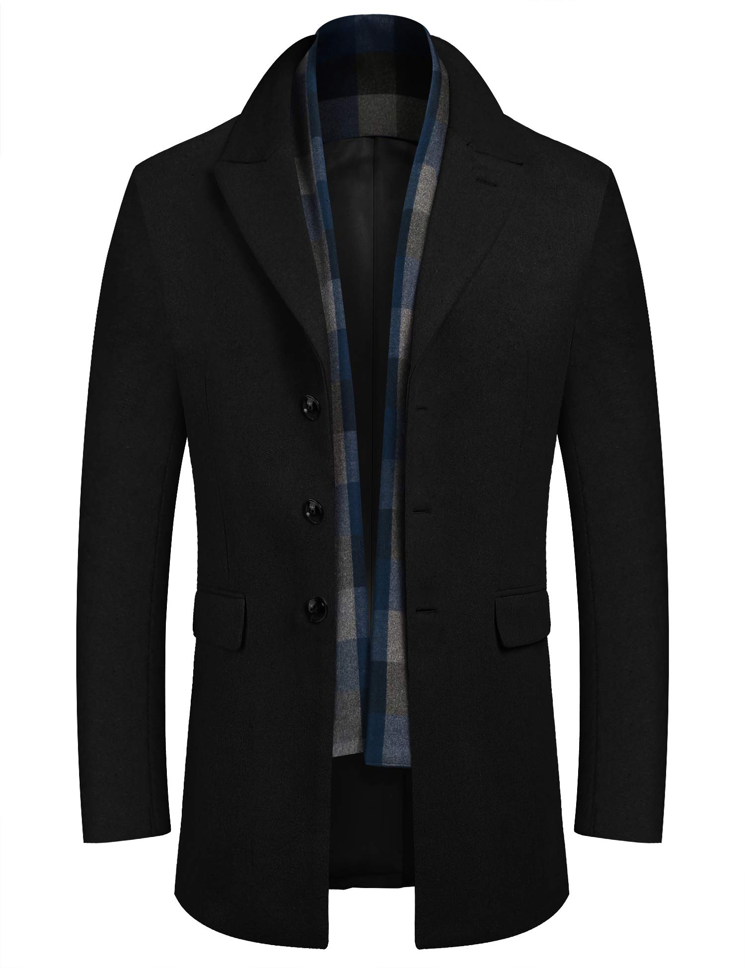 COOFANDY Men's Wool Blend Classic Pea Coat Winter Single Breasted Peacoat Jacket with Removable Scarf (Black XXL) by COOFANDY