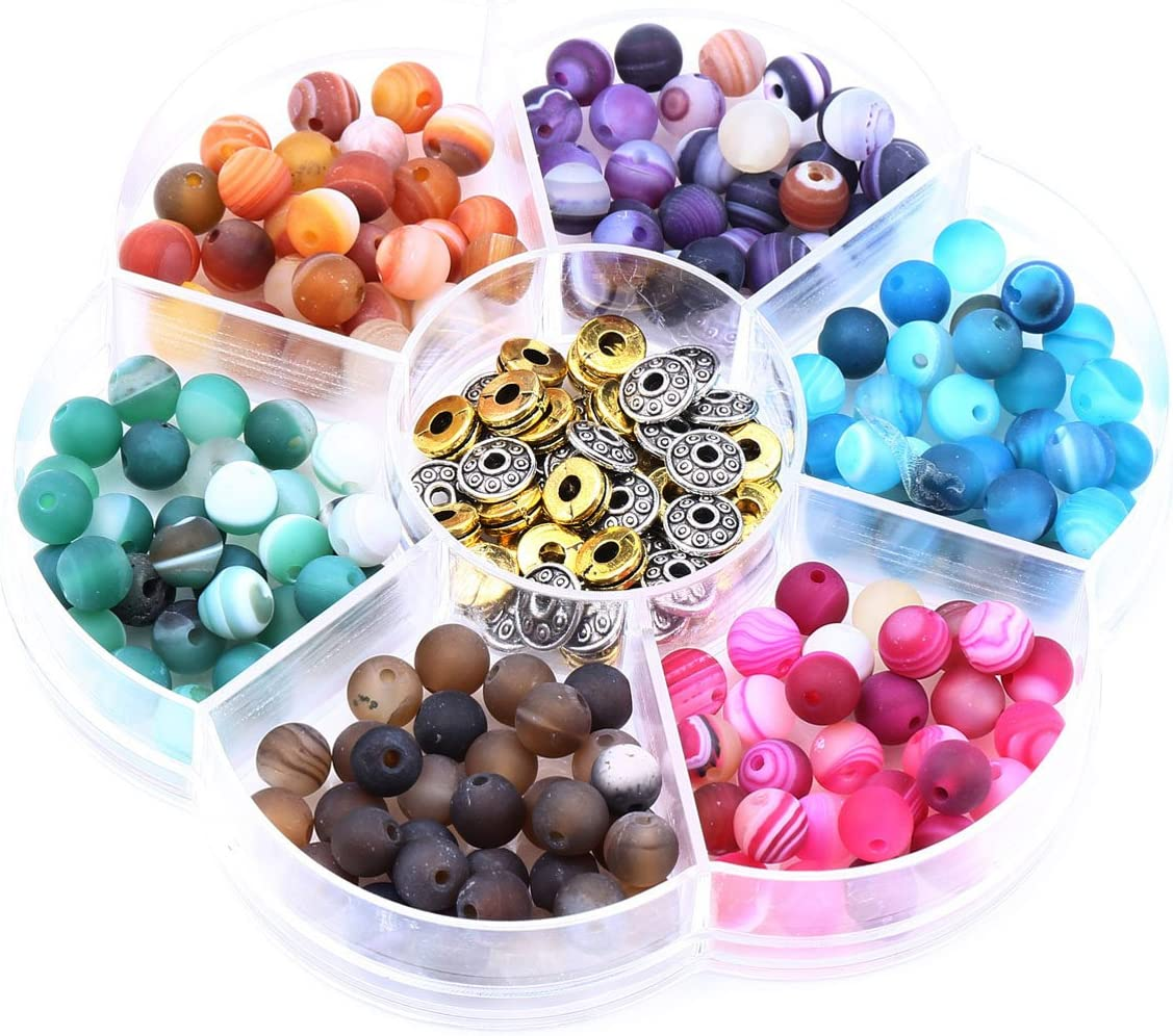 6mm Round Bead and Zinc Alloy Separator Combination for Necklace Bracelet Jewelry Making Approx 240 Pcs Scrub Striped Agate Gemstone Loose Beads