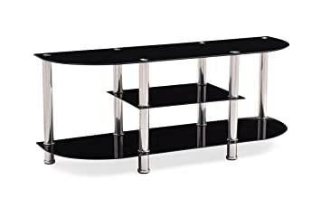 Amazon Com Hodedah Extra Wide Tempered Glass Tv Stand Accommodates