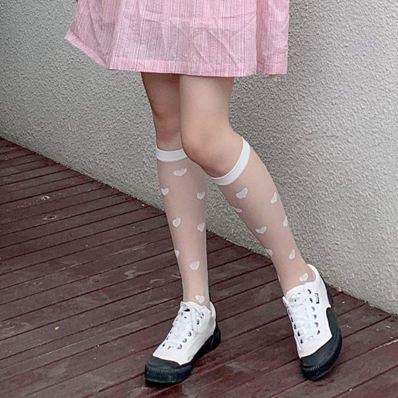 Womens Girls Sheer Nylon Lace Fishnet Knee High Socks Ultrathin Silly Stylish Crystal Mesh See Through Stocking