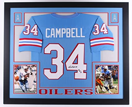 1c5798986 Image Unavailable. Image not available for. Color  Earl Campbell  34 Signed Houston  Oilers 35 quot  x 43 quot  Custom Framed Jersey Inscribed quot