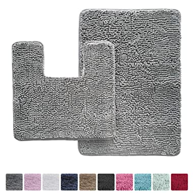 Kangaroo Original Shaggy Chenille Bathroom 2 Piece Rug Set Includes Mat Contoured for Toilet and 30x20 Carpet Mat, Washable, Mats, Absorbent, Plush Rugs for Kids Tub, Shower and Bath Room, Gray