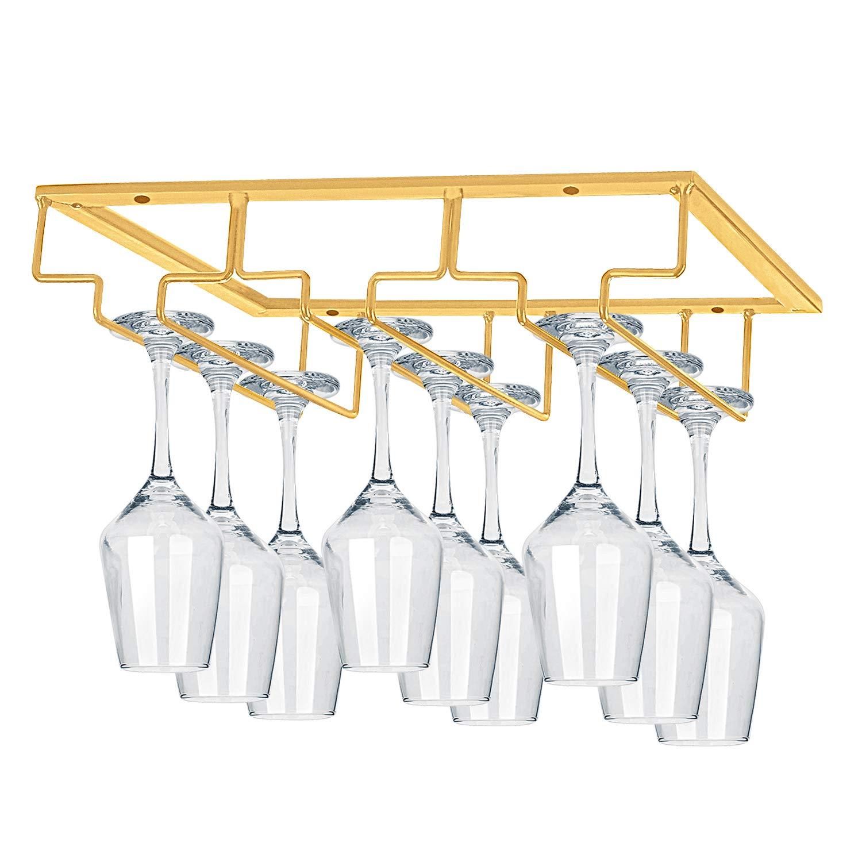Wine Glass Hanger Rack Wire Wine Glass Holder Storage Hanger for Cabinet Kitchen Bar MOCOUM Wine Glasses Rack Under Cabinet Stemware Rack Black, 3 Rows 2 Pack