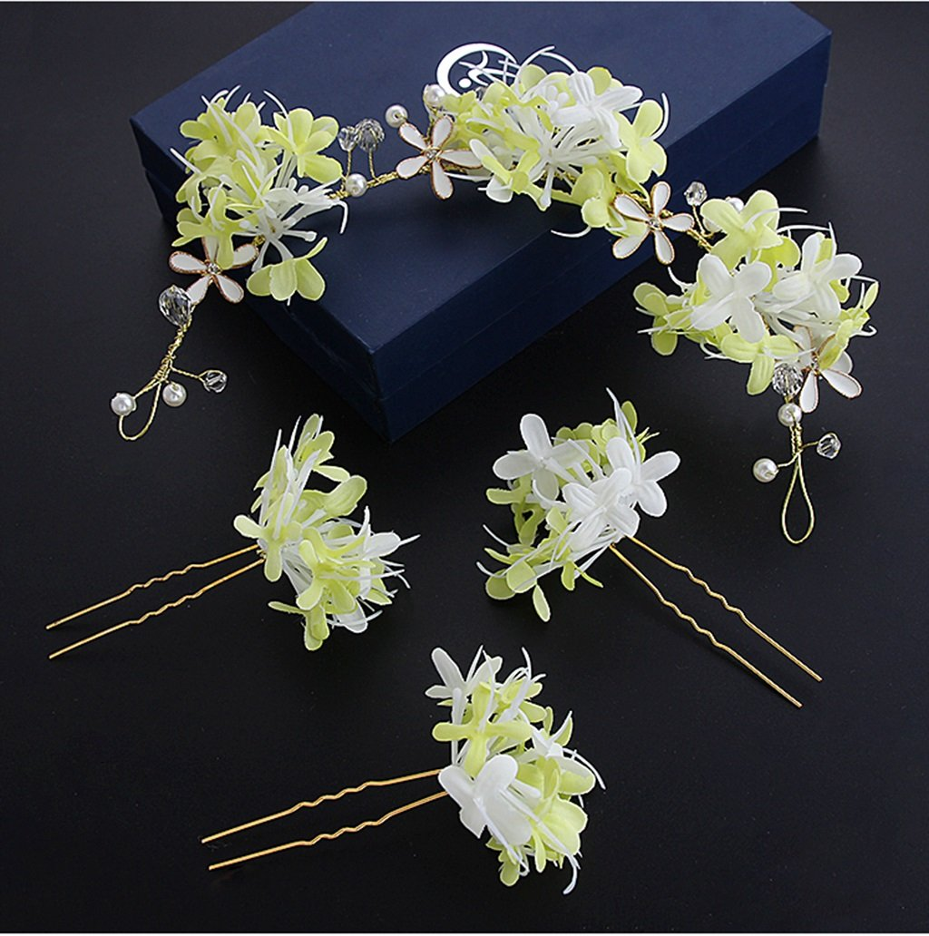 Korean Bride Head Flower Sen Female Hand Flower Headdress Wedding Dress Wedding Dress Dress Accessories (Color : Green)
