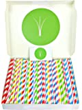 GrassRoots Paper Straws – Pack of 200 Durable Biodegradable Drinking Straws for Parties, Wedding, Gatherings – Striped Rainbow Coloured Straws for Cocktails, Smoothies, Cold Beverages – Gift Included