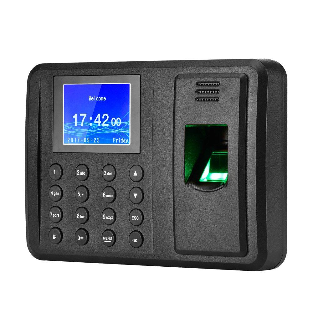 Antner Fingerprint Time Attendance Clock Output Attendance Report Directly USB Flash Disk Download Employee Payroll Recorder, Black by Antner