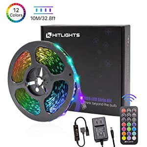 LED Strip Lights, HitLights Color Changing Strip Lights 32.8ft SMD 5050 Flexible RGB Light Strips with RF Remote, UL Power Supply for Under Cabinet Lighting Kitchen Bedroom Home Decoration