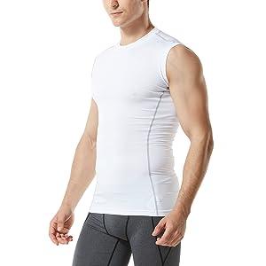 (テスラ)TESLA スリーブレス ラウンドネック スポーツシャツ [UVカット・吸汗速乾] コンプレッションウェア パワーストレッチ アンダーウェア MUA05-WHT_L