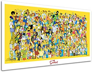 RINWUNS Wall Art The Simpsons Poster Character Collection Canvas Print Cartoon Wall Painting Giclee Artwork Picture Modern Home Decor For Living Room Bedroom Unframed 1 PC 16x24inch (Only Canvas)