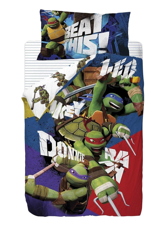 Nickelodeon Tortugas Ninja Saco nórdico de 2 Piezas para Cama de 90 cm, Mezcla De Algodón, Multicolor, 25x90x190 cm