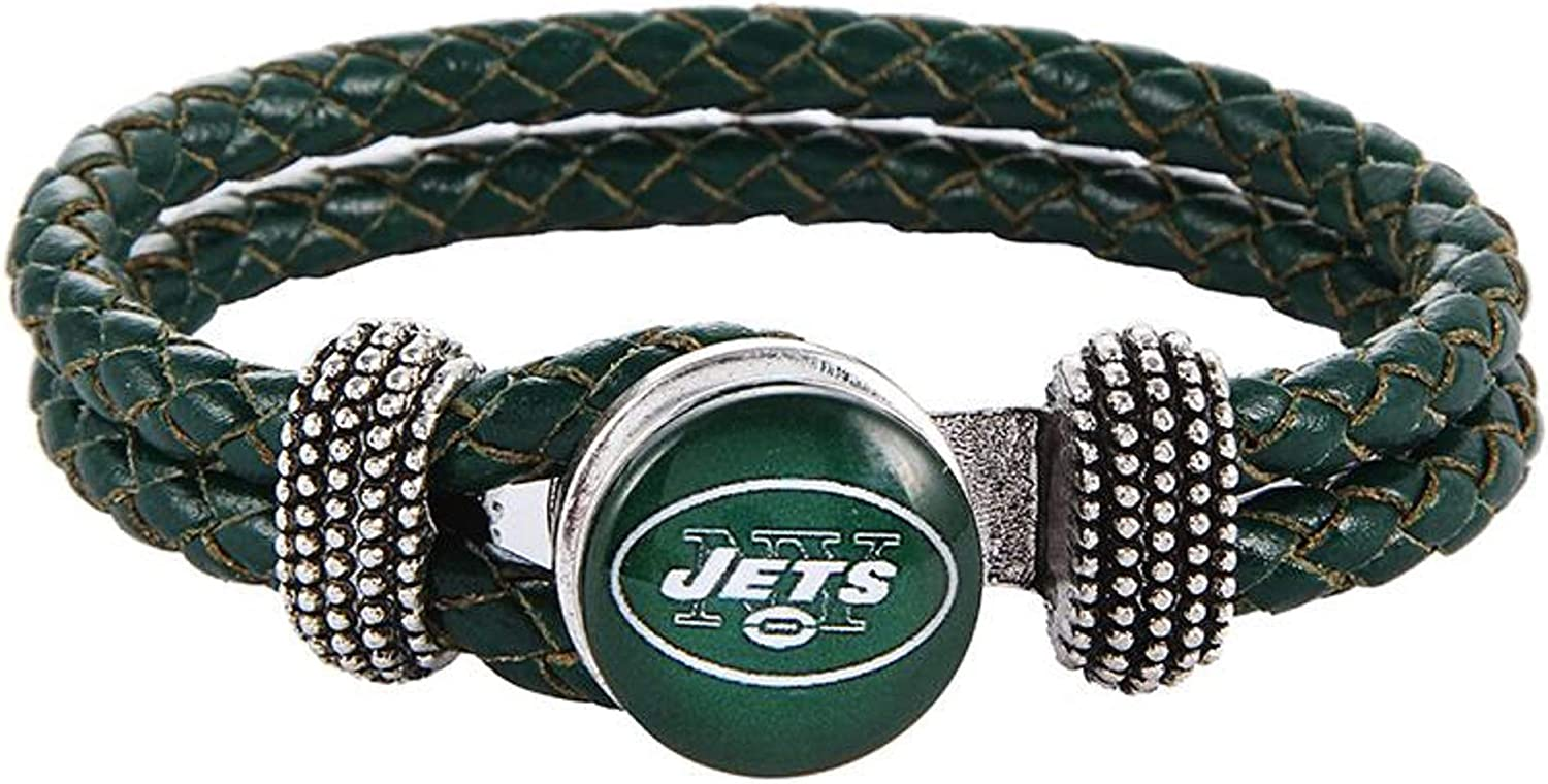 Swamp Fox New York Jets Double Leather Band Bracelet with Charm 7 to 9