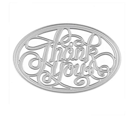 Amazon Com Fyore Cutting Dies Oval Thank You Letter Metal Stencil
