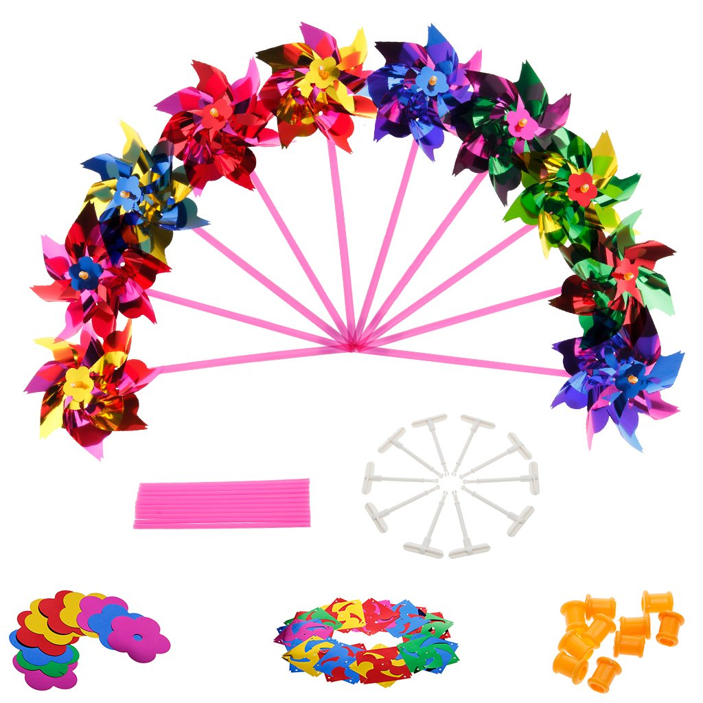 SimpleLife Plastic Windmill Pinwheel Wind Spinner Kids Toy Garden Lawn Party Decor 10 Piece