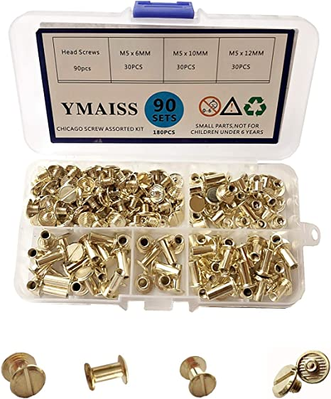 YMAISS 90 Sets Chicago Screws 3 Size 1//4,3//8,1//2in Screw Posts Bookbinding Posts Binding Screw Chicago Post Rivets Screw Belt Screws Leather Photo Albums Screw Round Flat Head Silver Color