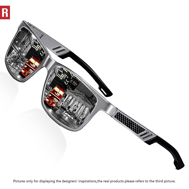 ROCKNIGHT Polarized UV Protection Driving Sunglasses for Men Wayfarer Full Frame Al-Mg Lightweight Silver Mirror Sunglasses Outdoors Fashion by ROCKNIGHT