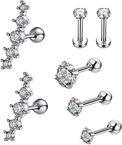 16G 2,3 or 4mm SILVER Cubic Zirconia  Helix ConchTragusCartilage Piercing