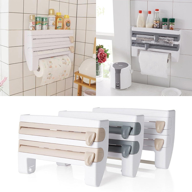 1*Kitchen Roll Dispenser Cling Film Tin Foil Paper Towel Holder Rack Wall Mount.