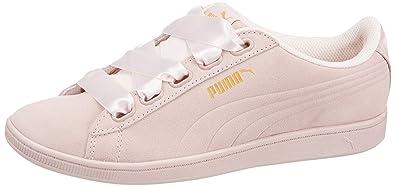 6c06470e28 Puma Womens Vikky Platform Ribbon Satin Trainers in Whisper White ...