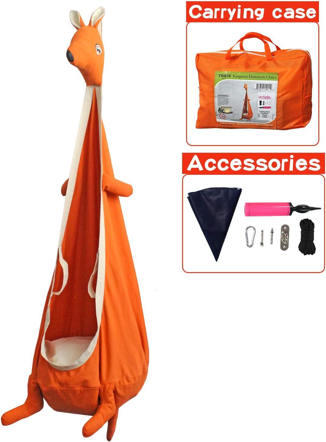 YOOBE Kangaroo Child Hammock Pod Swing Chair Nook Animal Tent - Kids Outdoor Indoor Swing Cloth Hanging Seat - Include Hardware Kit