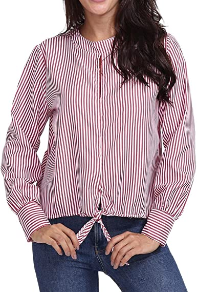PAOLIAN Blusa de Mujer Manga Largas Otoño 2018 Camisetas Estampado de Rayas Ropa para Mujer Blusa Cuello Redondo Casual Hueco Negocios Camisa Fiesta Cruz de Ropa: Amazon.es: Ropa y accesorios